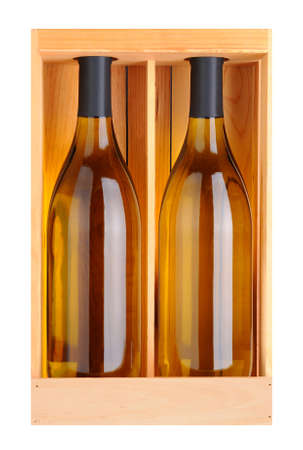 Two Chardonnay bottles without labels in a wood gift box Stock Photo - 17182967