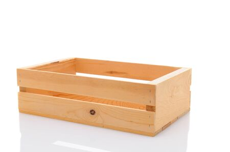 wooden box: Closeup of an empty wooden shipping crate isolated on white.