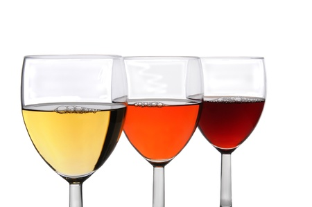 white zinfandel: Three different glasses of wine on a white background. Chardonnay, White Zinfandel, and Cabernet Sauvignon wines in three overlapping wineglasses.
