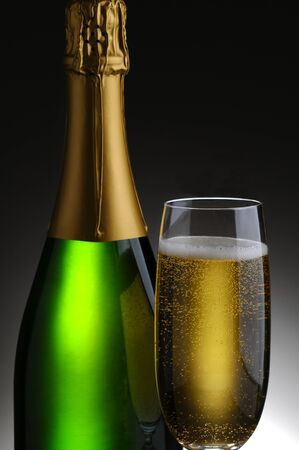 Closeup of a champagne bottle and flute on a light to dark gray background  Standard-Bild