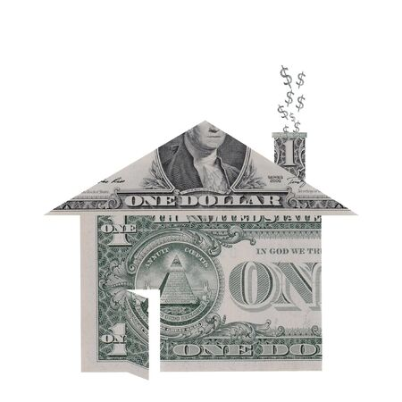 foreclosure: A house shape made from dollar bills with dollar signs rising from chimney symbolizing the housing crisis.