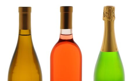 white zinfandel: Closeup of the top half of three wine bottles over a white background. Wines are Chardonnay, White Zinfandel, and Champagne. Stock Photo