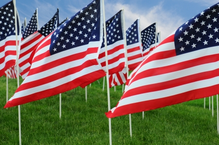 Closeup of a large group of American Flags in a field of grass with a blue cloudy sky. Stock Photo