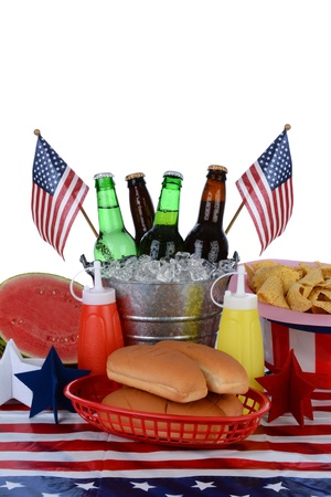 condensation basket: Closeup of a picnic table decorated for the Fourth of July Stock Photo