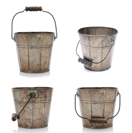 Collage of four views of an old fashioned metal bucket  Isolated on white with slight reflections