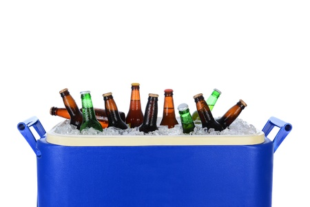 cooler: Closeup of an ice chest full of ice and assorted beer bottles  Horizontal format on white
