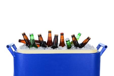 botellas de cerveza: Primer plano de una hielera llena de hielo y botellas de cerveza surtido Formato horizontal en blanco