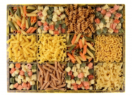 Overhead view of a divided box filled with different pastas  photo