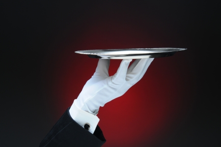 fingertip: Closeup of a waiter Stock Photo