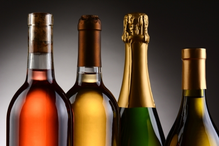 Closeup of four wine bottles backlit witha light to dark gray background  A Blush, Chardonnay, Sauvignon Blanc and Champagne bottles are shown from shoulder up  Horizontal Format  Stock Photo - 23121766