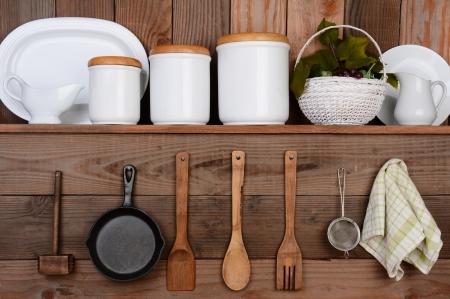 素朴な台所壁のクローズ アップ