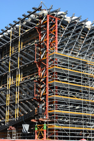 philanthropist: LOS ANGELES, CA - February 17, 2014: Construction detail on The Broad. The museum by the philanthropist Eli Broad and architect Elizabeth Diller is scheduled to be completed in 2015. Editorial