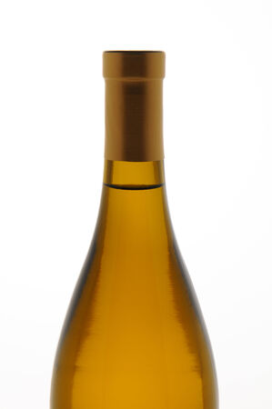 chardonnay: Closeup of a Chardonnay wine bottle isolated over white. Top half of bottle only.