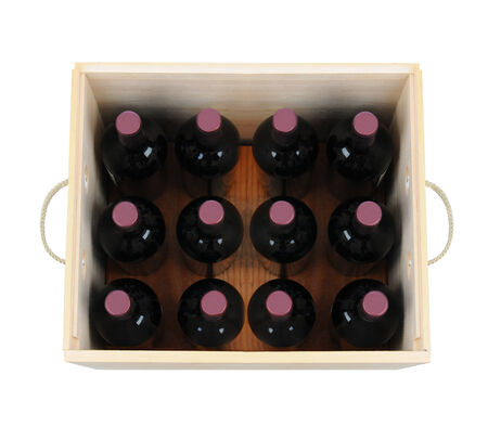high angle shot: A wooden wine case with twelve bottles. High angle shot looking down into the wood crate. The box has rope handles and is isolated on white. Stock Photo