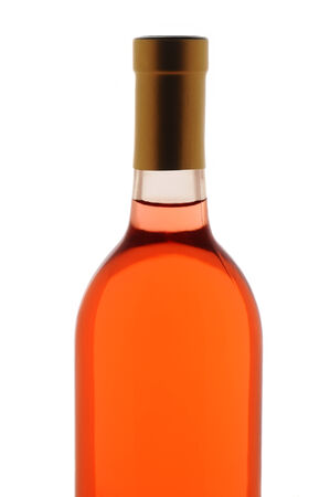 white zinfandel: Closeup of a blush wine bottle isolated over white. Top half of bottle only.