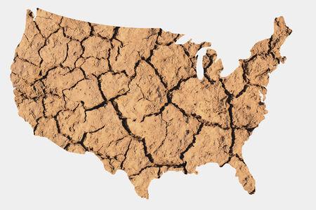 sequias: Forma de mapas de los Estados Unidos con la tierra seca que representa las condiciones de sequía reseca debido al cambio climático, también conocido como el Calentamiento Global. Foto de archivo