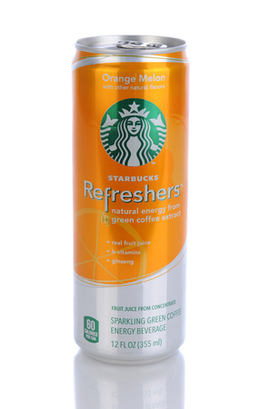 IRVINE, CA - January 11, 2013: A 12 oz can of Starbucks Orange Melon Refreshers Energy Beverage. Seattle based Starbucks is the largest coffeehouse company in the world, with over 20,000 stores in 62 countries.