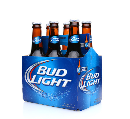 IRVINE, CA - MAY 25, 2014: A three quarters view of a 6 pack of Bud Light beer. From Anheuser-Busch InBev, Bud Light is the number one selling domestic beer in the United States.
