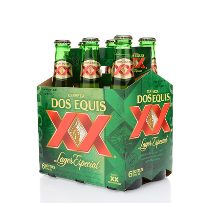 6 pack beer: IRVINE, CA - MAY 25, 2014: A three quarters view of a 6 pack of Dos Equis Lager Especial. Founded in 1890 from the Cuauhtemoc-Moctezuma Brewery in Monterrey, Mexico a subsidary of Heineken International.