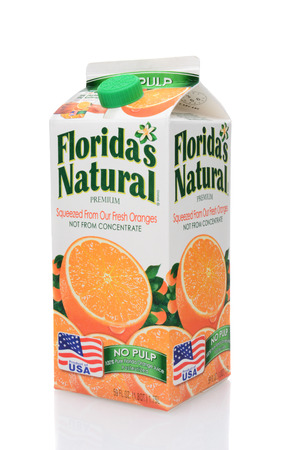 IRVINE, CA - MAY 25, 2014: A 59 ounce carton of Floridas Natural Orange Juice. Floridas Natural Growers is a cooperative based in Lake Wales, Florida, with over 1,100 grower members.