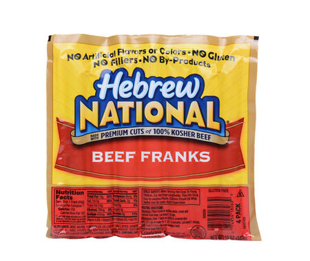 ounce: IRVINE, CA - MAY 19, 2014: A 12 ounce package of Hebrew National Beef Franks. The company founded on the Lower East Side of Manhattan in 1905, is now owned by ConAgra Foods.