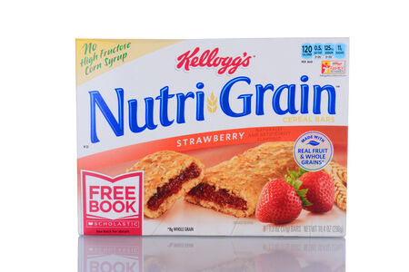cereal box: IRVINE, CA - January 29, 2014: A box of Nutri-Grain Strawberry Cereal Bars. Made by Kelloggs the bars became popular in the 1990s as a on-the-go food.