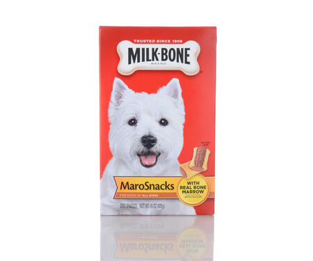 IRVINE, CA - January 05, 2014: A 15 oz boxes of Milk Bone MaroSnacks. Milk-Bone, a division of Del Monte Foods, has been making dog snacks for over 100 years.