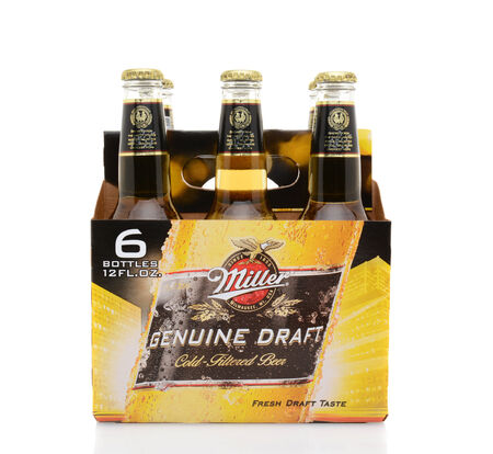 IRVINE, CA - MAY 25, 2014: A 6 pack of Miller Genuine Draft, side view.  MGD is actually made from the same recipe as Miller High Life except it is cold filtered. Editorial