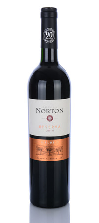 mendoza: IRVINE, CA - January 29, 2014: A bottle of 2010 Bodega Norton Malbec Reserva. This award winning winery located in Mendoza, Argentina was founded in 1895 with vines imported form France.