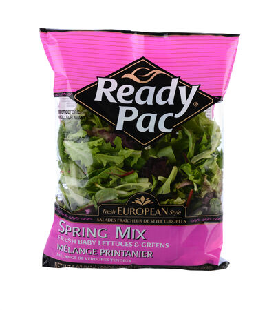 packaged: IRVINE, CA - MAY 20, 2014: A 5 ounce package of Ready Pac Spring Mix salad greens. Ready Pac is a California based packager of pre-cut and salad greens and vegetables.