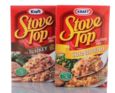 cornbread: IRVINE, CA - January 29, 2014: Two 6 oz boxes of Stove Top Stuffing Mix. Introduced in 1972 Kraft sells approximately 60 million boxes of Stove Top at Thanksgiving.