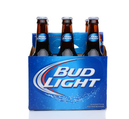 6 pack beer: IRVINE, CA - MAY 25, 2014: A 6 pack of Bud Light beer. From Anheuser-Busch InBev, Bud Light is the number selling one domestic beer in the United States. Editorial