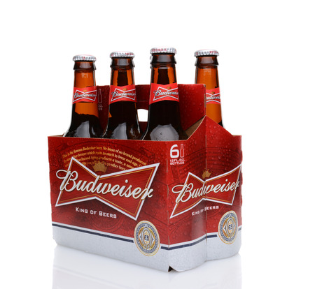 6 pack: IRVINE, CA - MAY 25, 2014: A 6 pack of Budweiser, side view. Introduced in 1876 by Adolphus Busch, Bud has become one of the best selling beers in the United States.