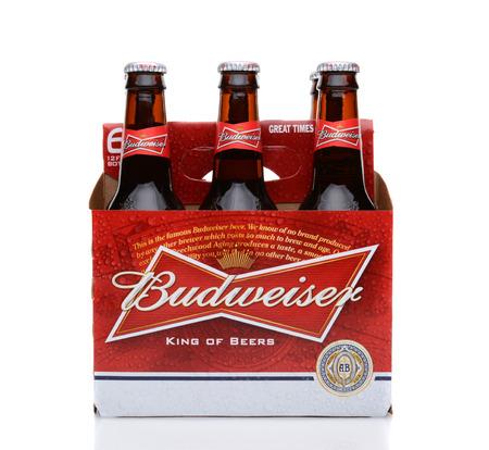 introduced: IRVINE, CA - 25 de mayo 2014: Un paquete de 6 de Budweiser, la vista lateral. Introducido en 1876 por Adolphus Busch Bud se ha convertido en una de las mejores cervezas m�s vendidas en los Estados Unidos. Editorial