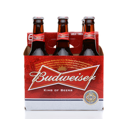 6 pack beer: IRVINE, CA - MAY 25, 2014: A 6 pack of Budweiser, side view. Introduced in 1876 by Adolphus Busch Bud has become one of the best selling beers in the United States.