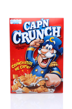 cereal box: IRVINE, CA - May 14, 2014: A 14oz box of Capn Crunch breakfast cereal. Manufactured by Quaker Oats Company, a division of PepsiCo since 2001. Editorial