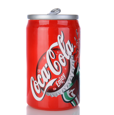IRVINE, CA - January 05, 2014: A Coca Cola cookie jar in the shape of a 12 ounce can of soda. Coca-Cola items are very popular with collectors. Editorial