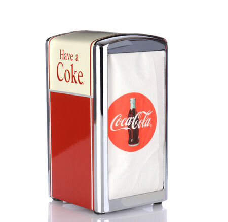 branded: IRVINE, CA - January 05, 2014: A Coca Cola Napkin Holder.  Coca-Cola branded items are very popular with collectors.