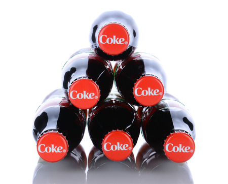 IRVINE, CA - January 29, 2014: 6 Coca-Cola Classic Bottles. Coca-Cola is the one of the worlds favorite carbonated beverages. Editorial