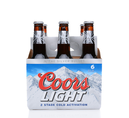 6 pack beer: IRVINE, CA - MAY 25, 2014: A 6 pack of Coors Light Beer. Coors operates a brewery in Golden, Colorado, that is the largest single brewery facility in the world.