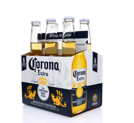 IRVINE, CA - MAY 25, 2014: A 6 pack of Corona Extra Beer, 34 view. Corona is the most popular imported beer in the United States.