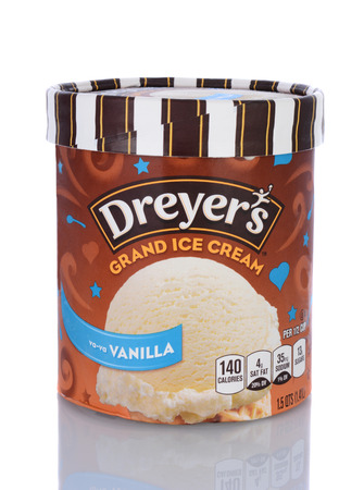 marketed: IRVINE, CA - January 29, 2014: A Carton of Dreyers Grand Ice Cream Vanilla.  A subsidiary of Nestle, Dreyers is marketed in the western USA and as Edys in the East and Midwest. Editorial