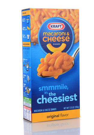 IRVINE, CA - February 06, 2013: A box of Kraft Macaroni and Cheese. The packaged meal was first introduced in 1937 during the Great Depression.