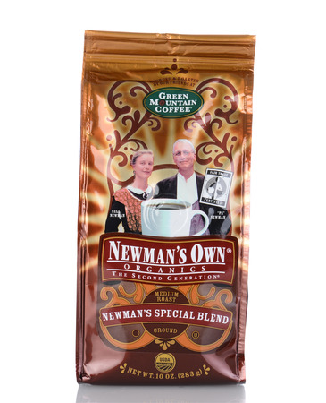 IRVINE, CA - January 05, 2014: A 10 oz bag of Newmans Own Green Mountain Coffee. The company gives 100% of the after-tax profits from the sale of its products to Newmans Own Foundation.