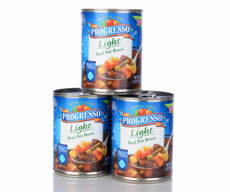 IRVINE, CA - January 05, 2014: Three cans of Progresso Light Beef Pot Roast Soup. Progresso, owned by General Mills has been making soups for over 90 years.