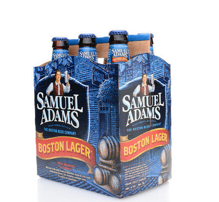IRVINE, CA - MAY 25, 2014: A 6 pack of Samuel Adams Boston Lager in 34 view. Brewed by the Boston Beer Company which is one of the largest American-owned beermakers.