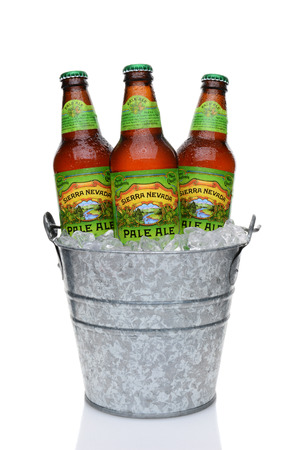 IRVINE, CA - MAY 25, 2014: Sierra Nevada Pale Ale bottle in a bucket of ice. Sierra Nevada Brewing Co. was established in 1980 by homebrewers in Chico, California. Editorial