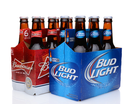 6 pack: IRVINE, CA - MAY 27, 2014: A 6 pack of Bud Light and Budweiser beers. From Anheuser-Busch InBev, Bud Light is the number selling one domestic beer in the United States.