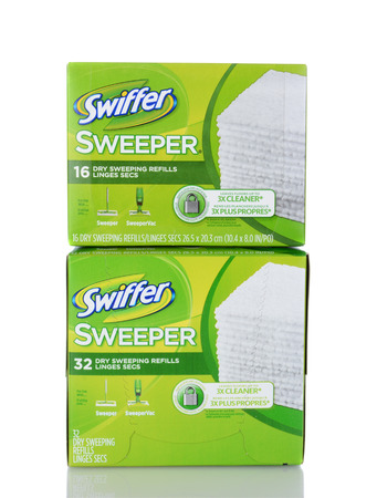 refills: IRVINE, CA - January 05, 2014: Two boxes of Swiffer Dry Sweeping Refills. Swiffer is a line of cleaning products by Procter & Gamble and Michael Rand, introduced in 1999.