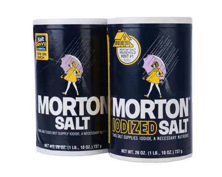 iodine: IRVINE, CA - February 06, 2013: Two Boxes of Morton Salt, one Regular and one Iodized. Based in Chicago, Morton is North Americas leading producer of salt. Stock Photo